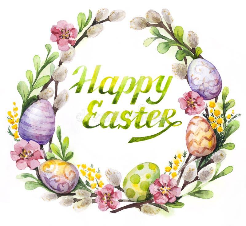 Grinalda da Páscoa com ovos da páscoa e flores ilustração royalty free