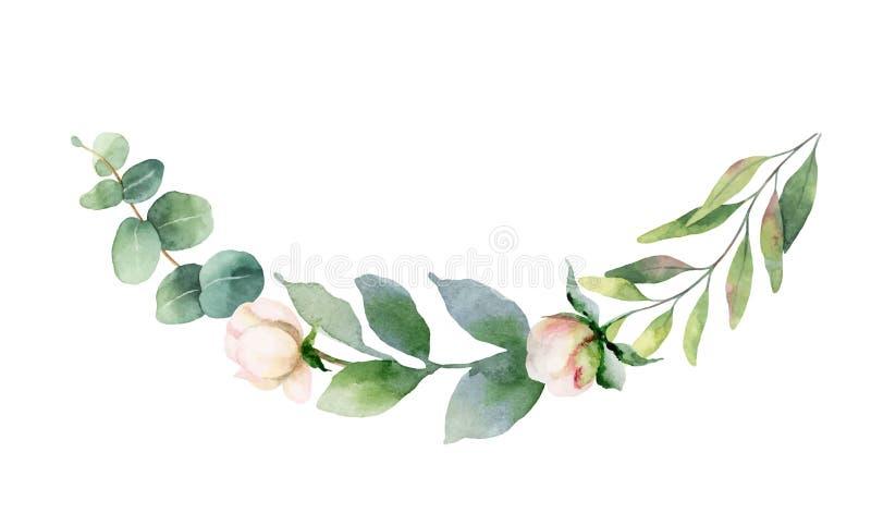 Grinalda da pintura da mão do vetor da aquarela de flores e das folhas cor-de-rosa do verde ilustração royalty free