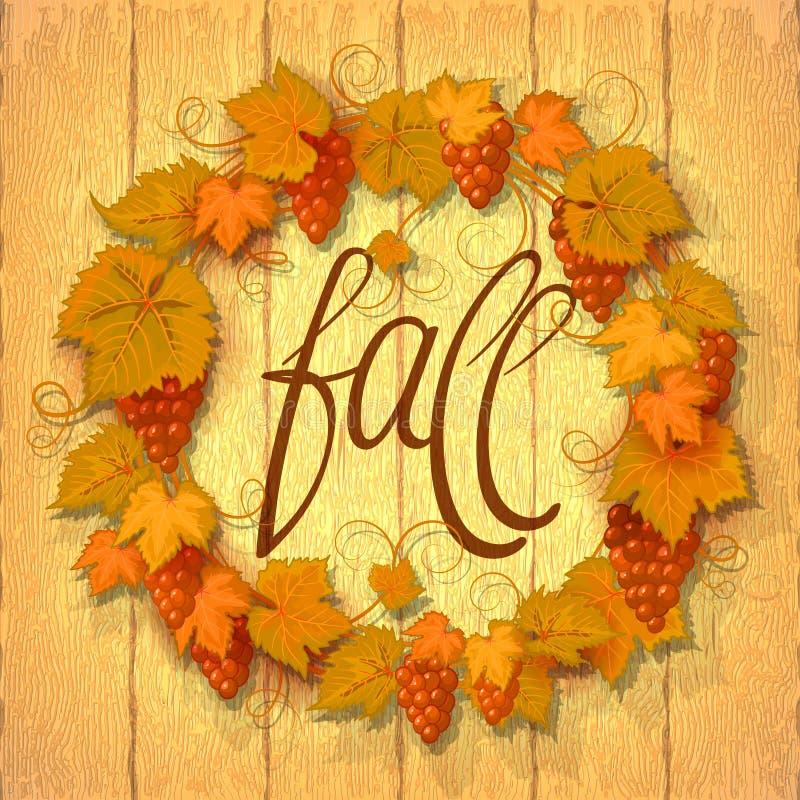 A grinalda da uva do outono sae em um fundo de madeira escuro com o espaço da cópia para a inscrição no centro e no ilustração stock