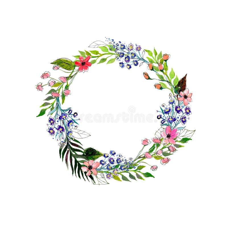 Grinalda das flores da aquarela ilustração do vetor