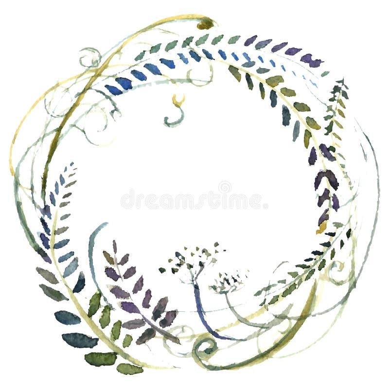 Grinalda das flores da aquarela ilustração stock