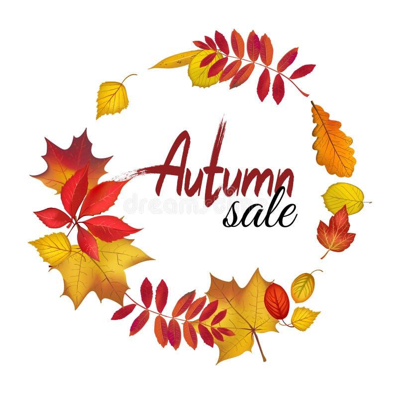 Grinalda das folhas da queda para o projeto da venda do outono ilustração royalty free