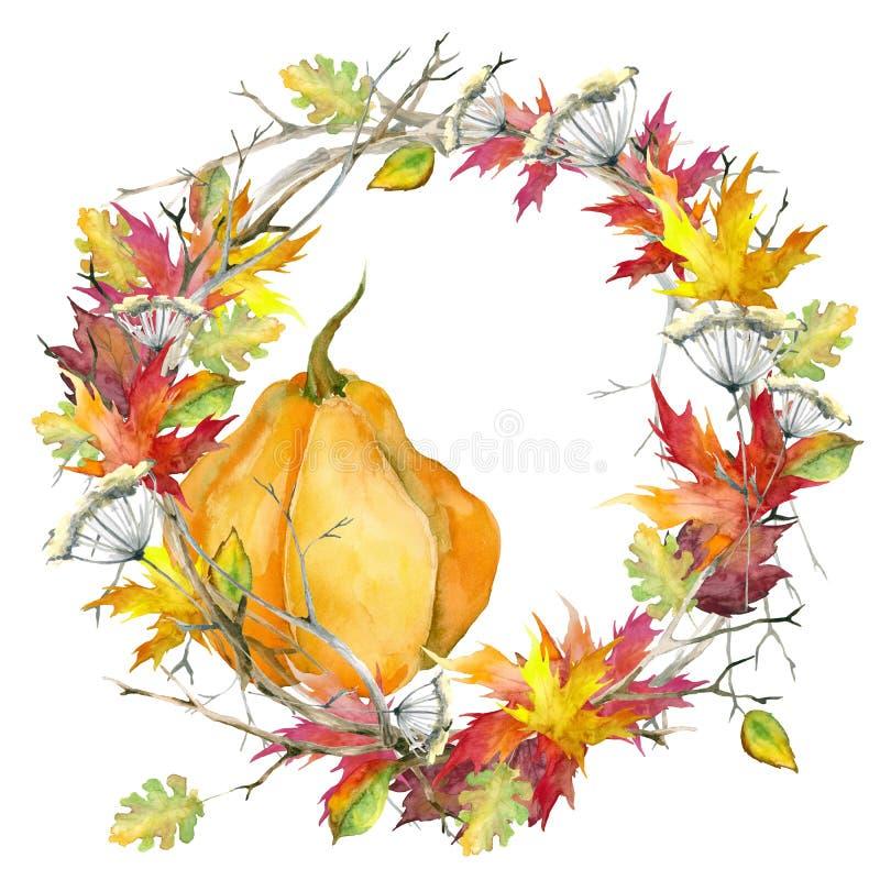 Grinalda das folhas de outono Bordo, carvalho e abóbora watercolor Isolado no fundo branco ilustração stock