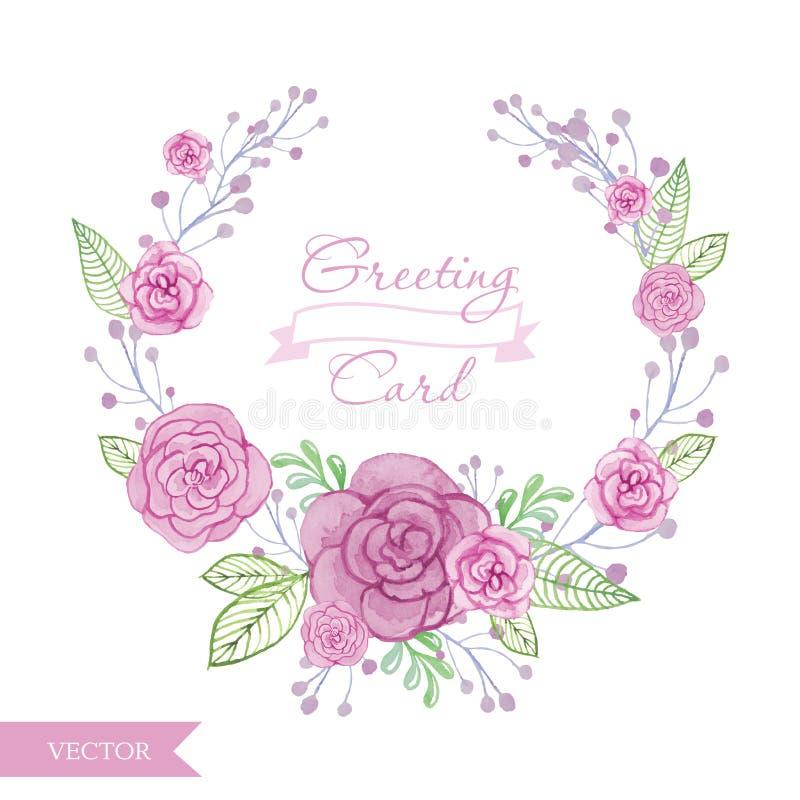 Grinalda das rosas da flor da aquarela ilustração royalty free