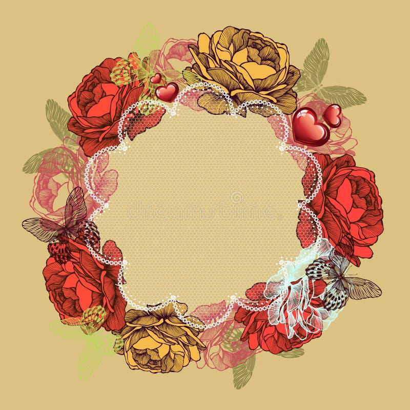 Grinalda das rosas e das borboletas, dia de Valentim Illustra do vetor ilustração do vetor