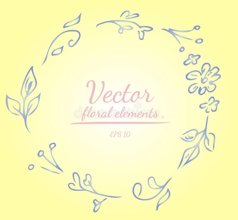 Grinalda das rosas ou das flores das peônias e ramos com shalimar, o limão, o azul do polo, a azálea e cores brancas do néctar Fr ilustração royalty free