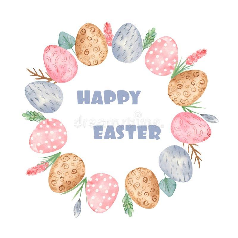 Grinalda de easter da aquarela com ovos e flores ilustração royalty free