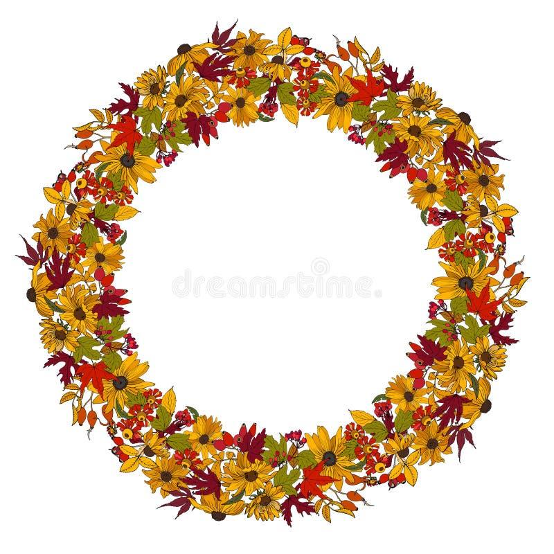 Grinalda de flores, de folhas e de bagas do outono ilustração do vetor