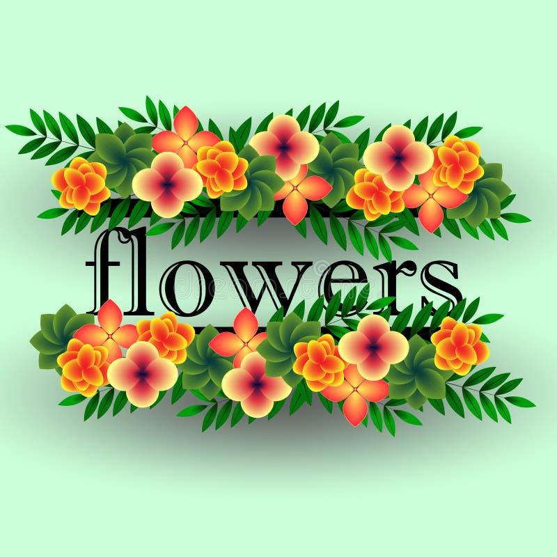 Grinalda de flores tropicais foto de stock