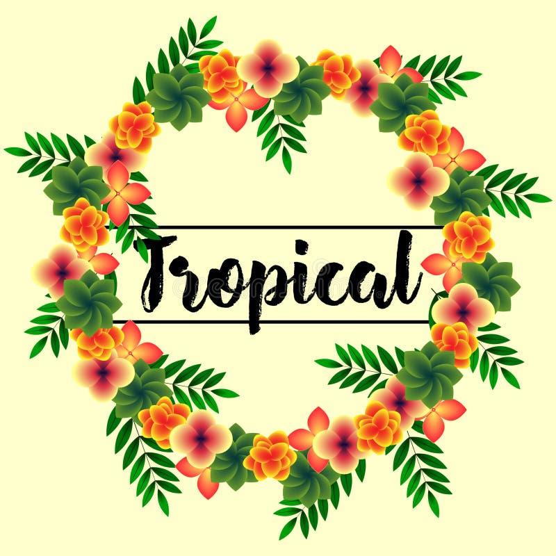 Grinalda de flores tropicais imagem de stock royalty free