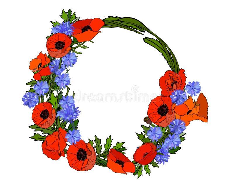 Grinalda de flores vermelhas e azuis Papoilas e centáureas ilustração royalty free