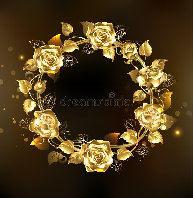 Grinalda de rosas do ouro ilustração royalty free