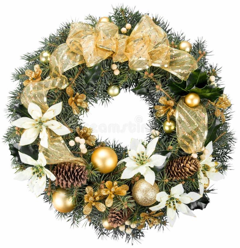 Grinalda decorativa do Natal do azevinho, hera fotografia de stock royalty free