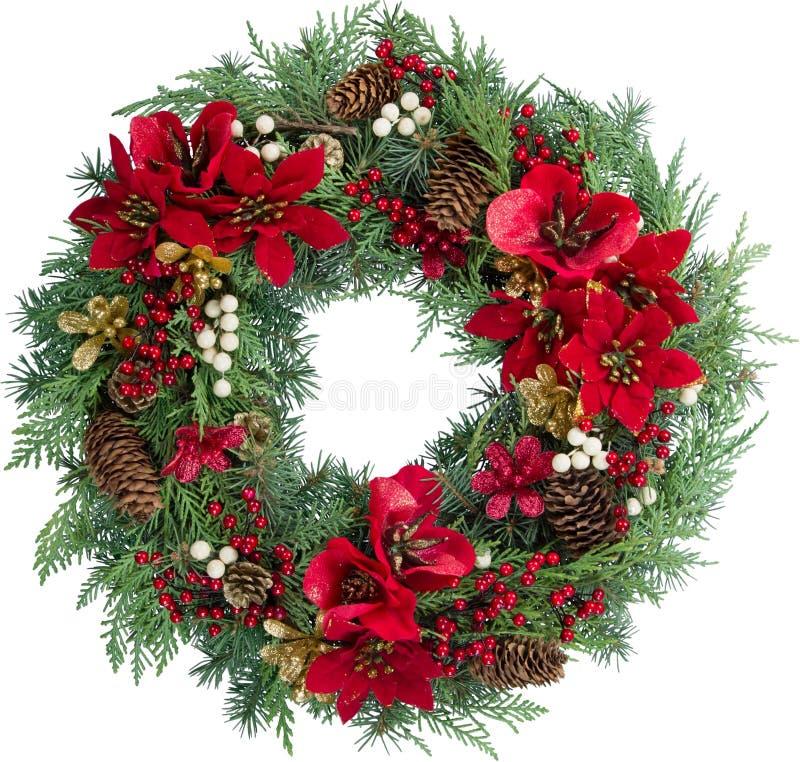 Grinalda decorativa do Natal isolada no branco imagem de stock royalty free