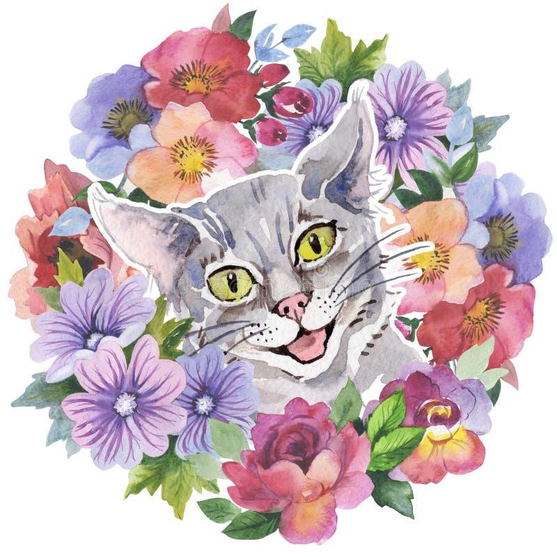 Grinalda do animal selvagem do gato em um estilo da aquarela ilustração royalty free
