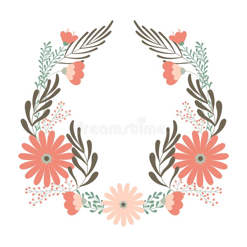 Grinalda do casamento da flor, conceito do ornamento para o cartão decorativo ou birhday ilustração do vetor