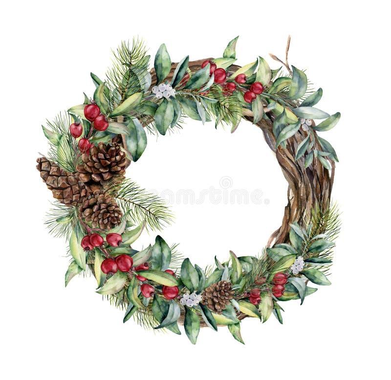 Grinalda do inverno da aquarela Grinalda pintado à mão da árvore com ramos florais, bagas, folhas e cones do pinho isolados sobre ilustração do vetor