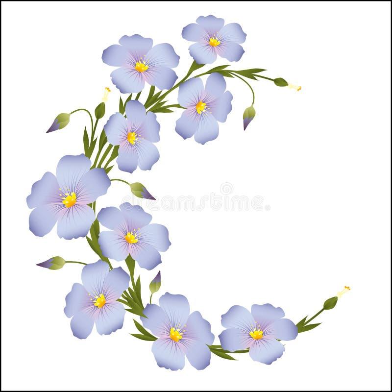 A grinalda do linho floresce em volta do ornamento ilustração royalty free
