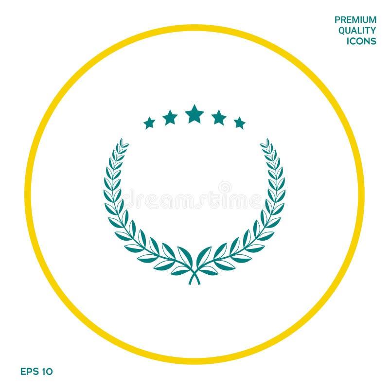 Grinalda do louro com cinco estrelas - projete o símbolo ilustração stock