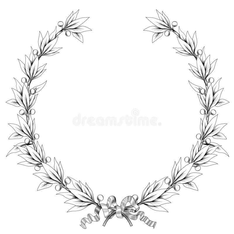 Grinalda do louro (cores preto e branco) ilustração royalty free