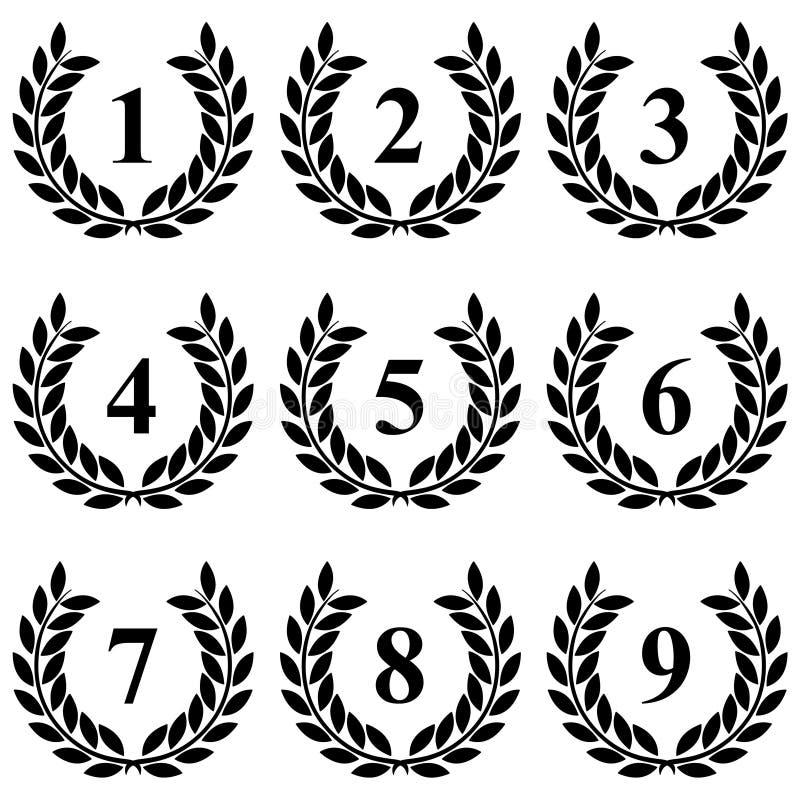 Grinalda do louro de 1 a 9 em um fundo branco ilustração do vetor