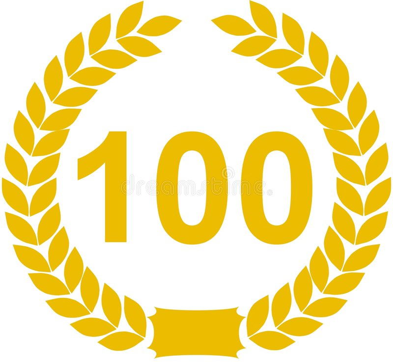 Grinalda do louro do número 100 ilustração royalty free
