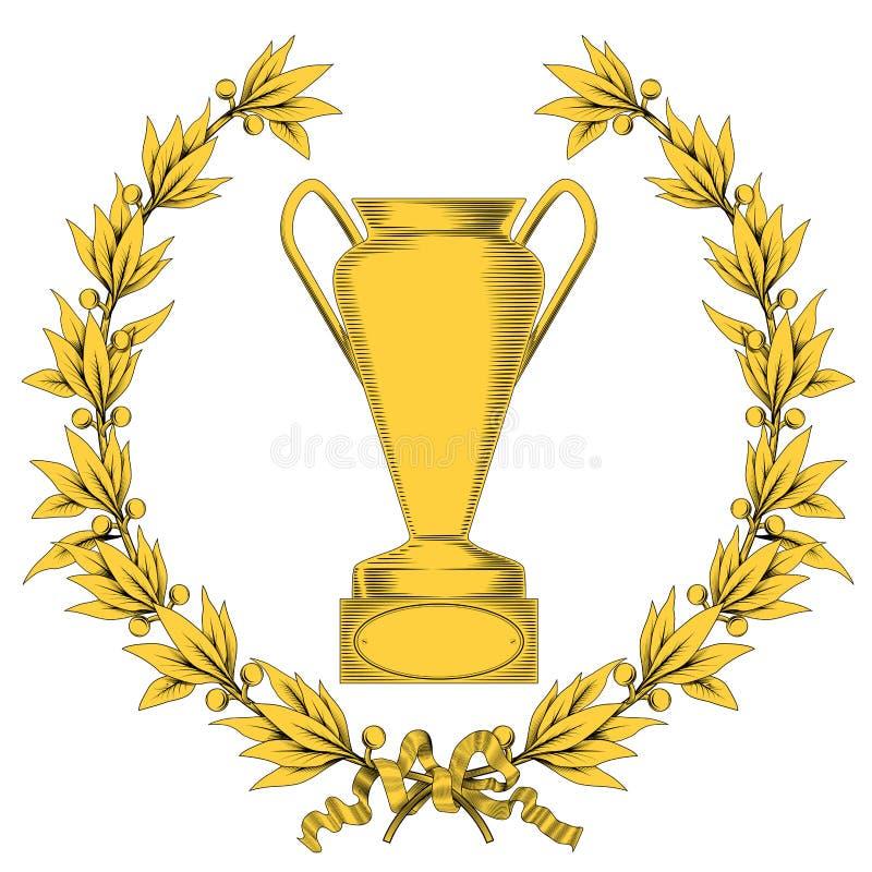 Grinalda do louro e copo dourados do vencedor ilustração stock