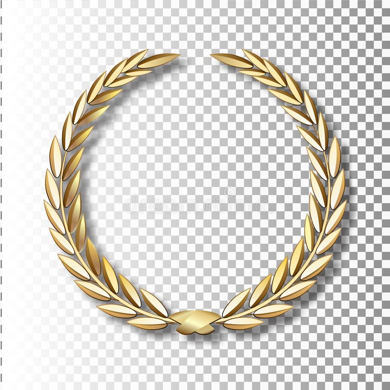 Grinalda do louro do ouro do vetor Grinalda do louro com fita dourada ilustração do vetor