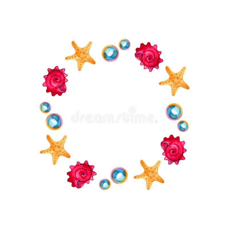 Grinalda do mar da aquarela, escudo, estrela do mar e pérola redondos, molde do cartão do convite ilustração do vetor