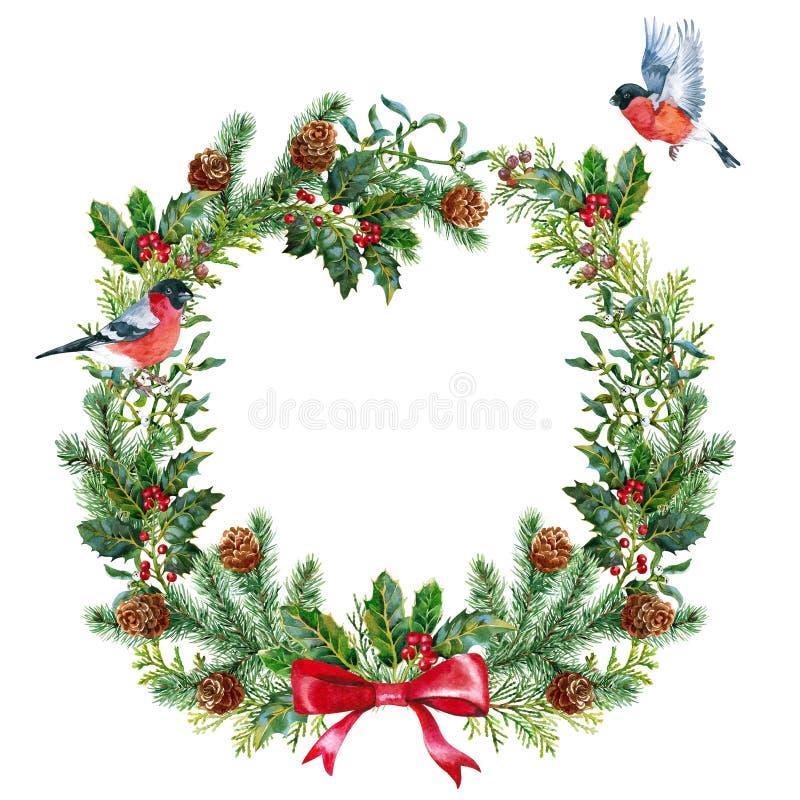Grinalda do Natal com dom-fafe watercolor ilustração do vetor