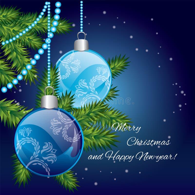 Grinalda do Natal com esferas vermelhas congratulation ` S do ano novo e Natal ilustração stock