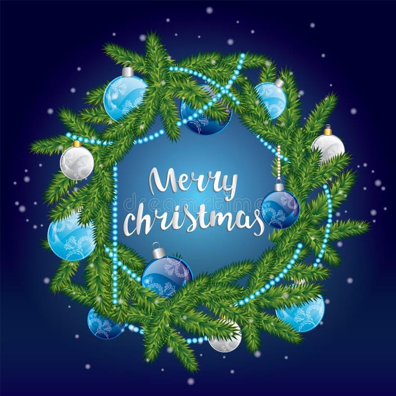 Grinalda do Natal com esferas vermelhas congratulation Year& novo x27; s e Natal ilustração royalty free