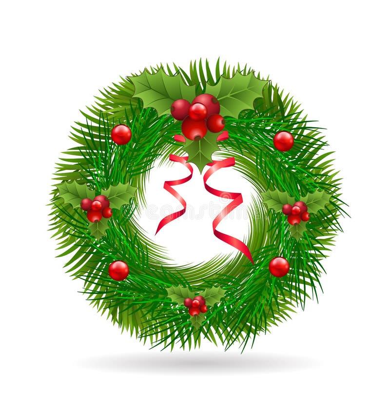 Grinalda do Natal com fita vermelha ilustração do vetor