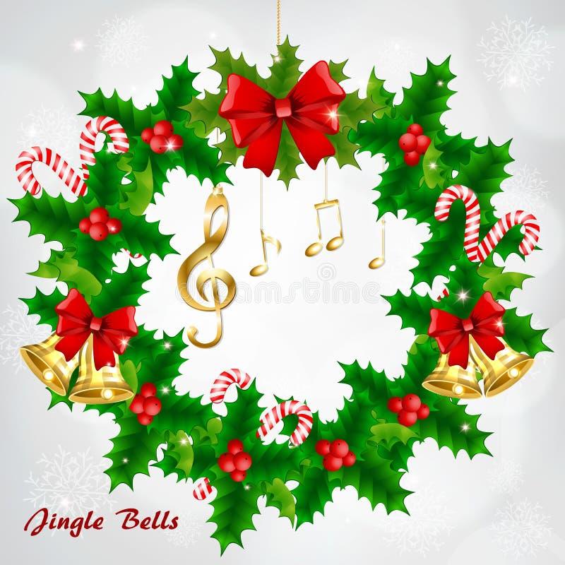 Grinalda do Natal com notas musicais e clave de sol douradas ilustração stock