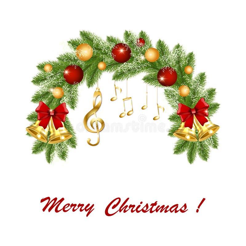 Grinalda do Natal com notas musicais e clave de sol douradas ilustração do vetor
