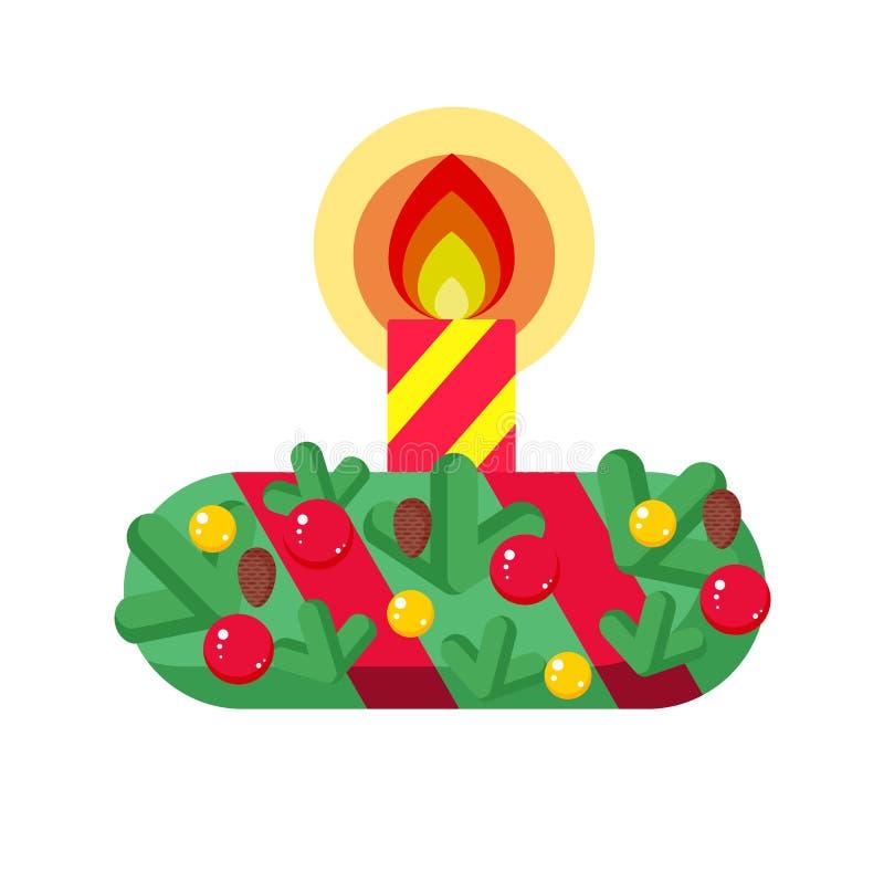 Grinalda do Natal com velas ilustração stock