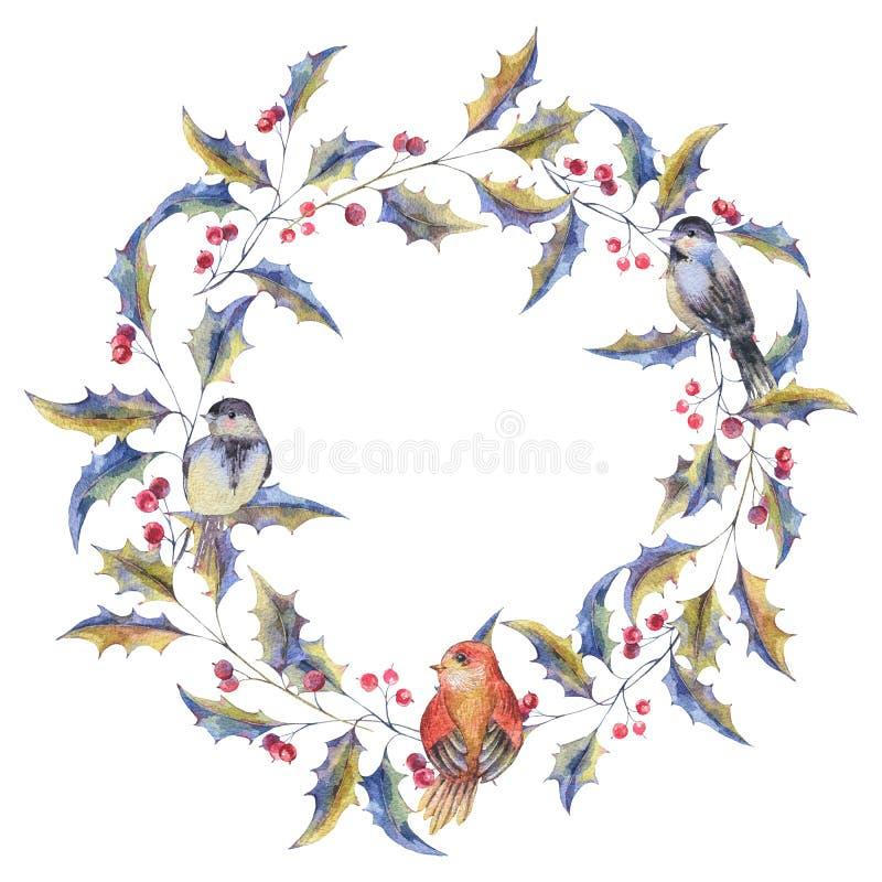 Grinalda do Natal da aquarela com bagas do azevinho ilustração stock