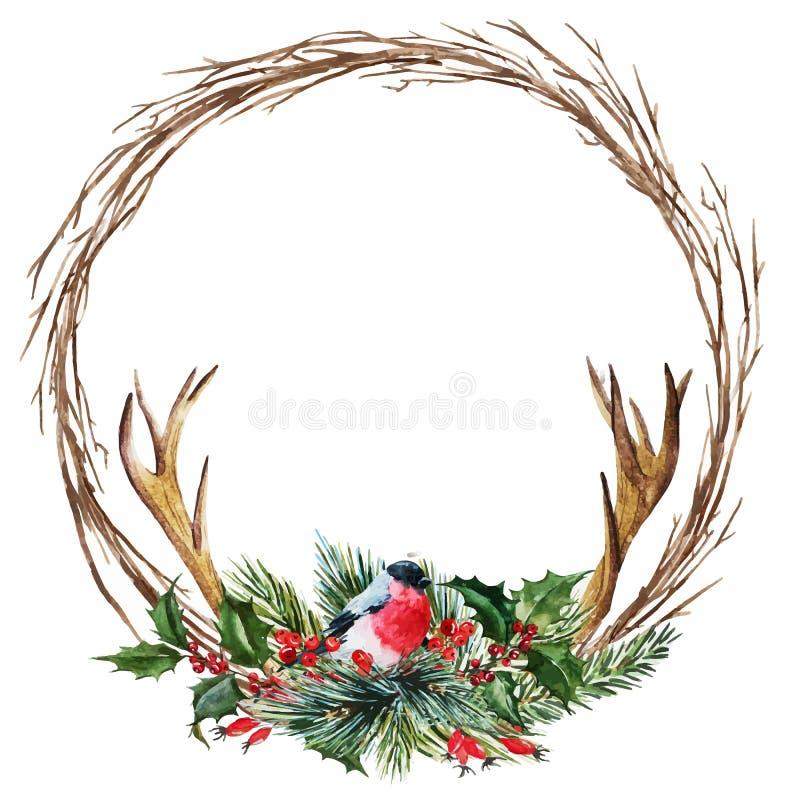 Grinalda do Natal da aquarela do vetor ilustração royalty free