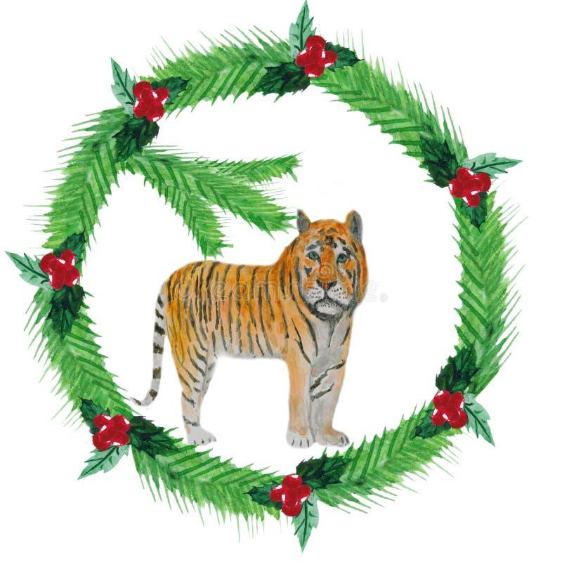 Grinalda do Natal da aquarela dos ramos do abeto, bagas vermelhas, com tigre de а ilustração do vetor