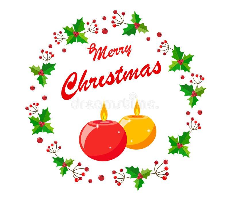 A grinalda do Natal das bagas e do azevinho sae com as velas e o Feliz Natal do texto ilustração royalty free
