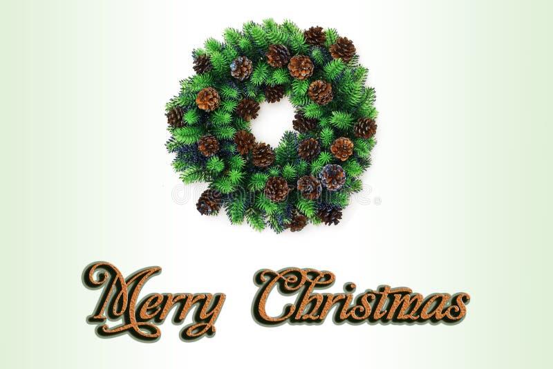 Grinalda do Natal em um fundo branco postcard imagens de stock