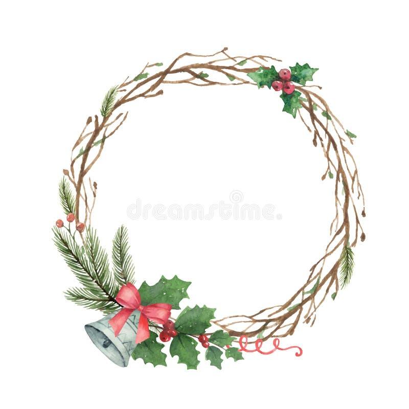 Grinalda do Natal do vetor da aquarela com ramos e sino do abeto ilustração royalty free