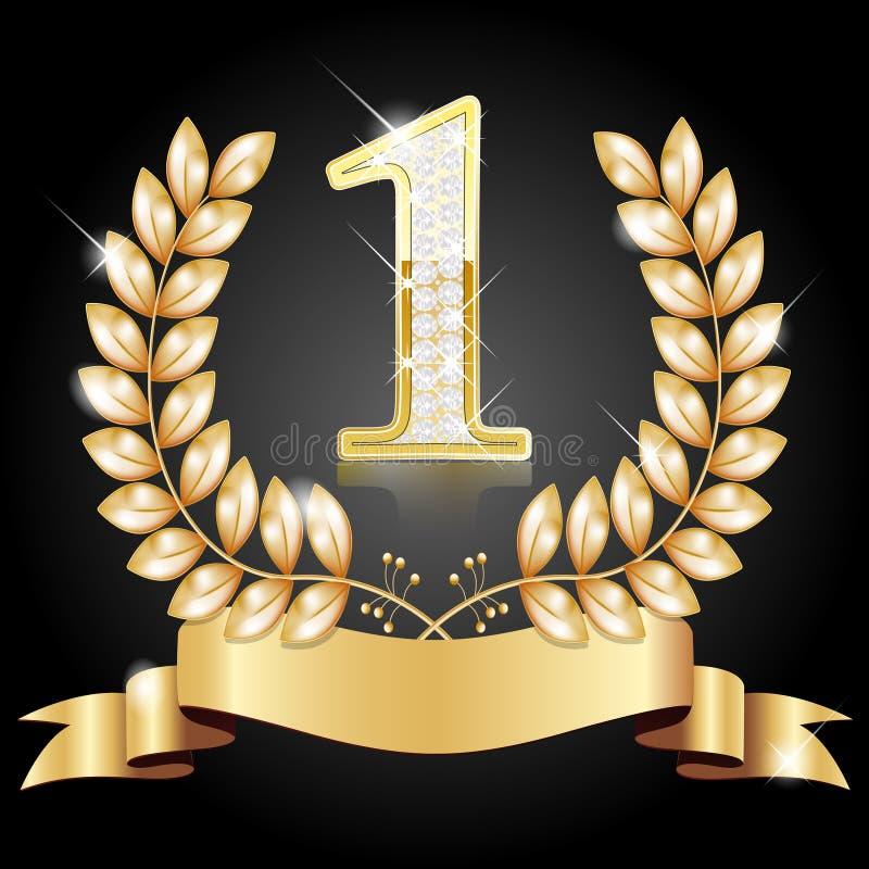 Grinalda do ouro para o vencedor e o número um ilustração do vetor