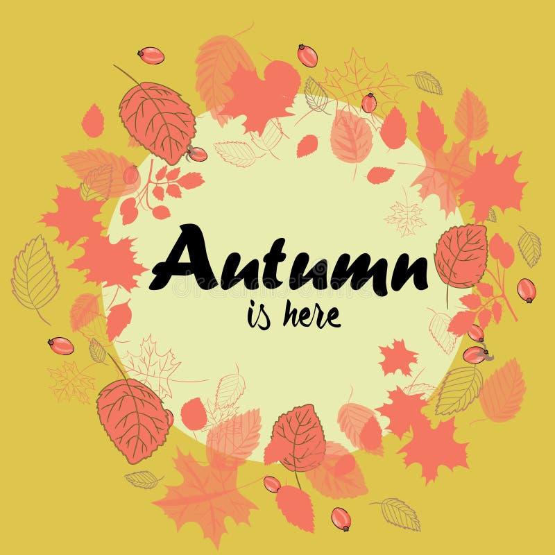 A grinalda do outono feita do vermelho sae com os quadris cor-de-rosa Ilustração do vetor no fundo amarelo O outono está aqui ilustração royalty free