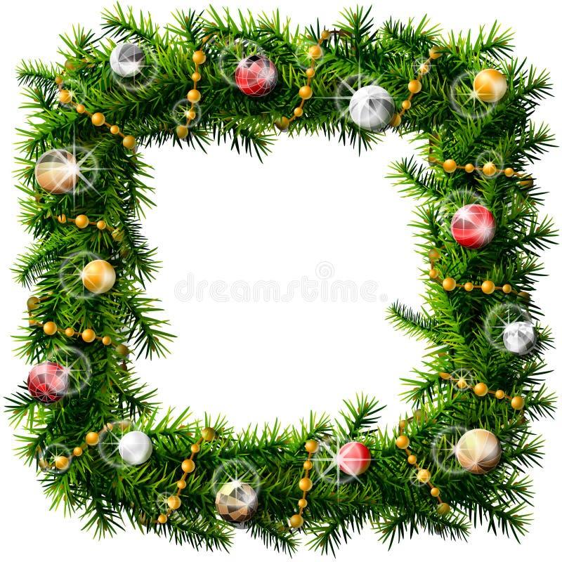 Grinalda do quadrado do Natal com grânulos e as bolas decorativos ilustração stock