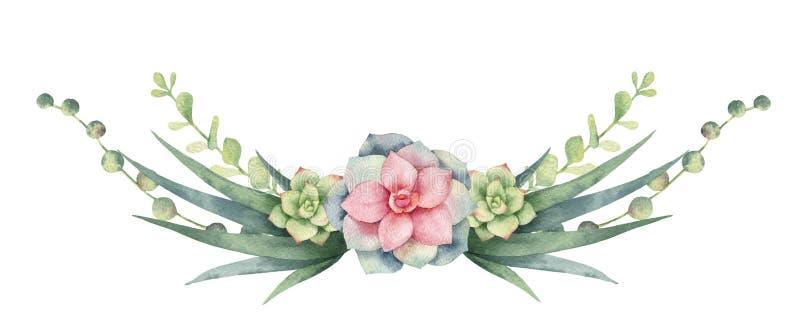Grinalda do vetor da aquarela dos cactos e das plantas suculentos isolados no fundo branco ilustração royalty free