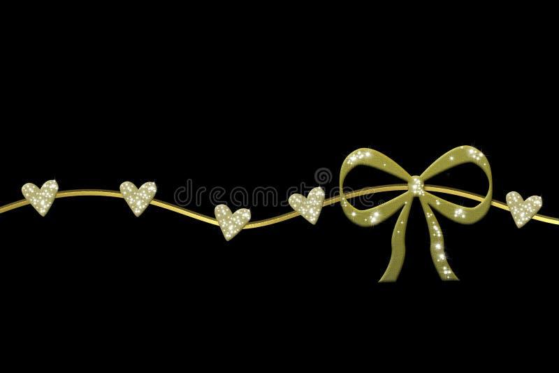 Grinalda dourada com curva do presente e corações lustrosos ilustração royalty free