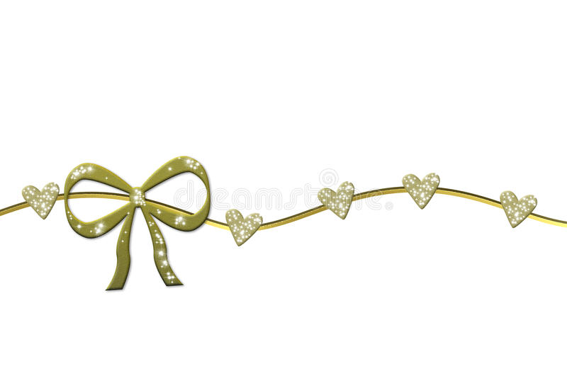Grinalda dourada com curva do presente e corações lustrosos ilustração do vetor