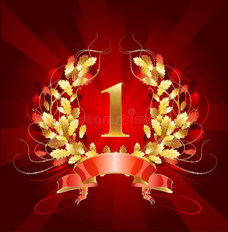 Grinalda dourada do carvalho ilustração royalty free