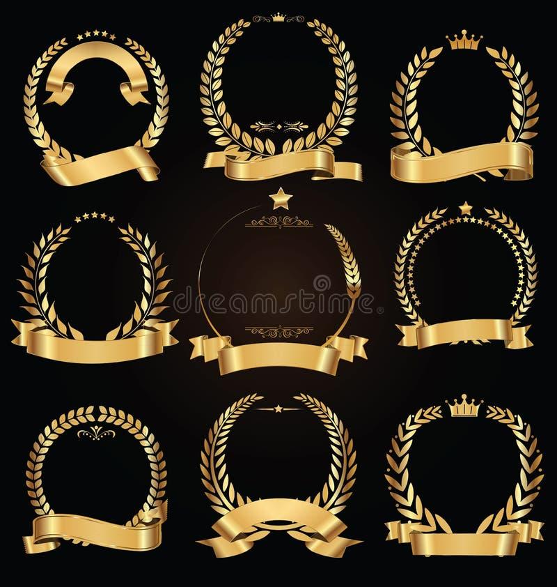 Grinalda dourada do louro com coleção dourada do vetor da fita ilustração do vetor